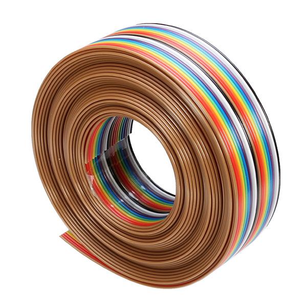 40 Pin 1 27mm 1 Metre Yassı Gökkuşağı Şeritli Dupont Kablo (26 AWG Saf Bakır)